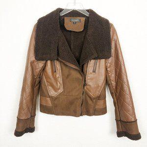 Topshop Brown Suede Leather Moto Jacket 6